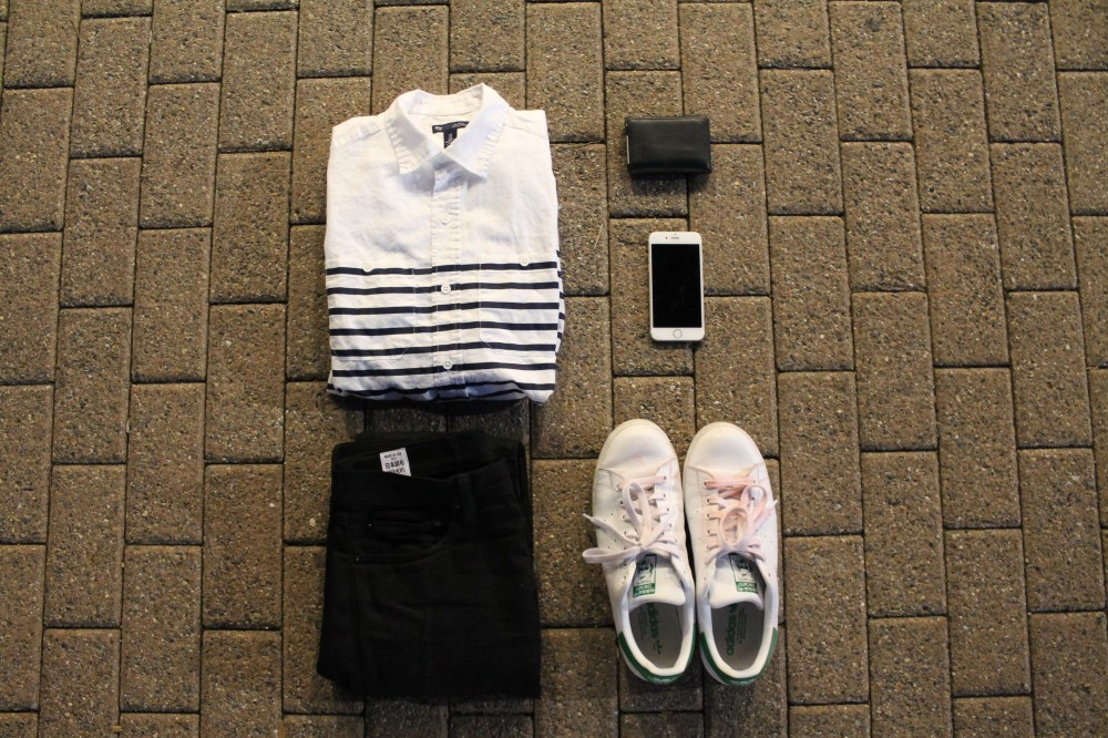 Outfit Grid 2: GAP Breton stripe button up/ Rogue Territory Stealth SK jeans/ Adidas Stan Smiths